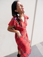 Vertical Red Dress Laughing